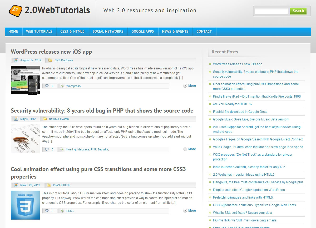 2.0 Web Tutorials